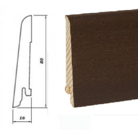 Плинтус Pedross Дуб Вилликана шпонированный  2500 x 80 x 16
